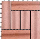 Naturesort N4-OTSA1 Bamboo Composite Deck Tile, 6-Slats, 11-pack
