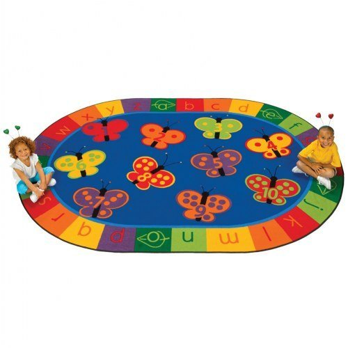 Carpets for Kids 3507 Literacy 123 Abc Butterfly Fun Kids Rug Size: Oval x x, 7'8 x 10'10, Blue