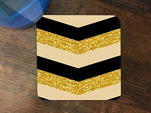 Tan Beverage (Black Gold Tan Chevron Stripe Design Silicone Drink Beverage Coaster 4 Pack)