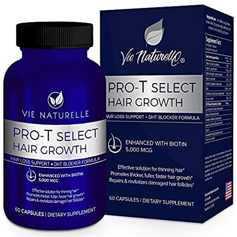 Vie Naturelle Hair Loss Vitamins Supplement for Fast Hair Growth - DHT Blocker Pills with 5,000mcg Biotin for Women and Men - 30 Day (Pills Fast)