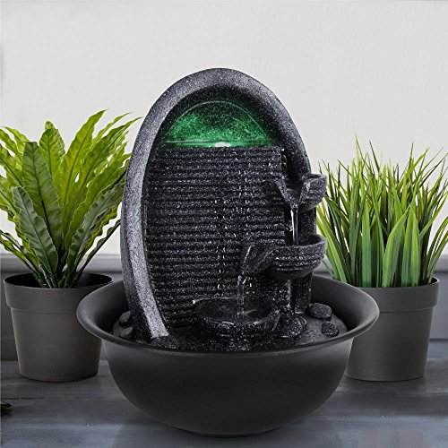 SereneLife 4-Tier Desktop Electric Water Fountain Decor w/ LED - Indoor Outdoor Portable Tabletop Decorative Zen Meditation Waterfall Kit Includes Submersible Pump & 12V Power Adapter by SereneLife (Image #8)