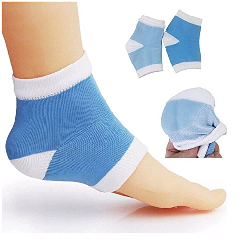 Moisturizing Heel Socks with Gel to Heal Dry Cracked Heels-2 Pair (Blue and Pink) Amazing Mall