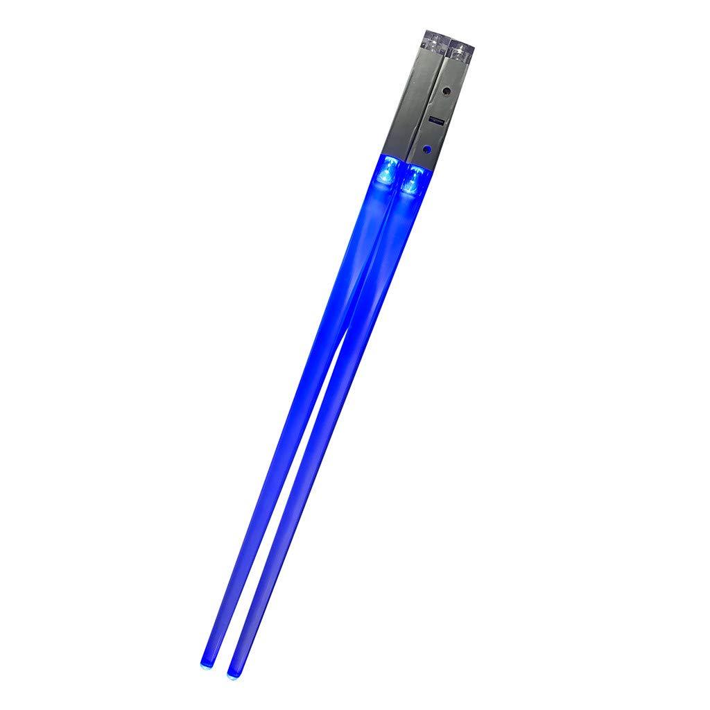 Baulody Lightsaber Chopsticks Lightsaber Chopsticks Light Up Chop Sticks Reusable Funny Gift for Party (Red Blue Green Purple) (Blue)