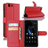 DOOGEE X5 Case, Doogee X5 Pro Case, Fettion Premium PU Leather Wallet Phone Cases Flip Cover with Stand Card Holder for Doogee X5 / Doogee X5 Pro Smartphone (Wallet - Red)