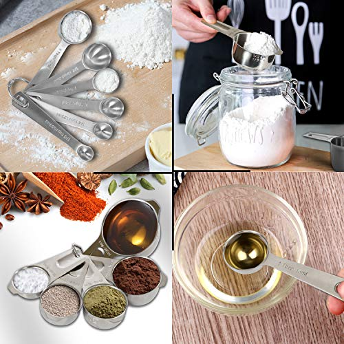 Measuring Cups and Spoons Set, GIPTIME 13 PCS Measuring Cups 304(18/8) Stainless Steel, Heavy Duty 6 Measuring Spoons + 5 Measuring Cups + 1 Measuring ruler for Baking Use + 1 Coffee Spoon
