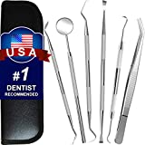 Dental Tools, 6 Pack Teeth Cleaning Tools Stainless Steel Tartar Remover Plaque Scraper Tooth Pick Hygiene Set with Mouth Mirror, Tweezer Kit for Dentist, Family Oral Care, Dogs - With Leather Case