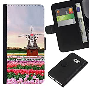 KingStore / Leather Etui en cuir / Samsung Galaxy S6 EDGE / Holanda Rosas tulipanes del molino de viento de verano