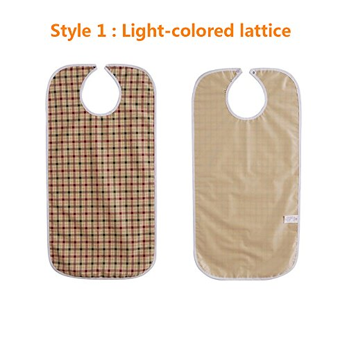 Adult Bibs Special Needs Patient Mealtime Eating Cloth Clothing Protectors Reusable Waterproof Large Long Feeding Bibs for Seniors (2 pcs - Lattice) by NEPPT (Image #5)