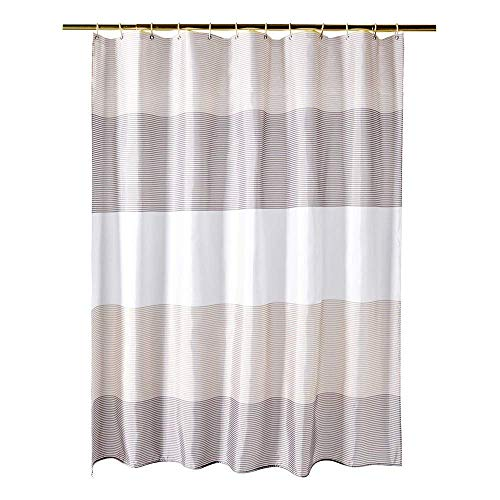 juyou Fabric Shower Curtain for Bathroom Waterproof and Mildew-Resistant Textile,Striped Design,71'' W×71'' L by juyou