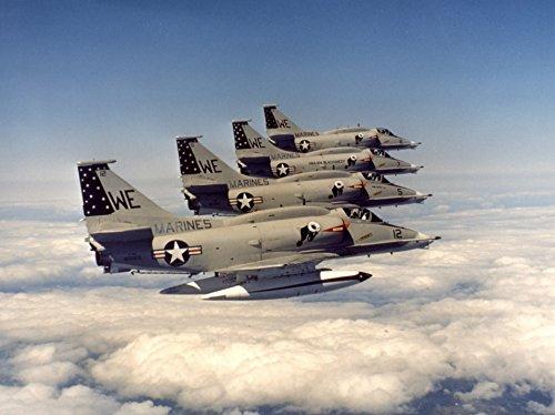 Four U.S. Marine Corps Douglas A-4M Skyhawk of Marine Attack Squadron 214 (VMA-214) Black Sheep in (Skyhawk Marines)