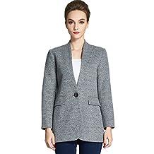 Camii Mia Women's Single Button Up Wool Pea Coat Jacket