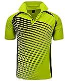 ZITY Mens Polo Shirt Cool Quick-Dry Sweat-Wicking Color Block Short Sleeve Sports Golf Tennis T-Shirt(Bgreen-XL)