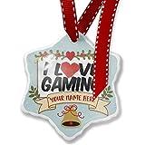 Leiacikl22 Christmas Ornament Customize Your Name I Love Gaming Christmas Ornament