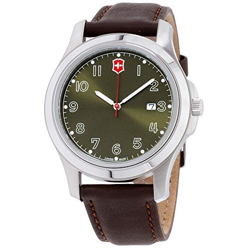 Victorinox Garrison Green Dial Leather Strap Men's Watch 26070CB
