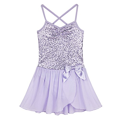 MSemis Girls' Sequins Camisole Ballet Dancing Dress Tutu Skirted Leotard Ballerina Dance Wear Costumes Lavender -