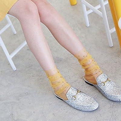 Maivasyy 3 paires de chaussettes en verre brillant ornements Diamant Perspective Lumière Tulle bas pieux fils maille creux Chaussettes, jaune