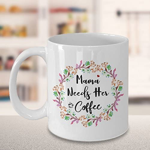 Tall handmade ceramic coffee mug mama needs coffee and hearts by mudcakes