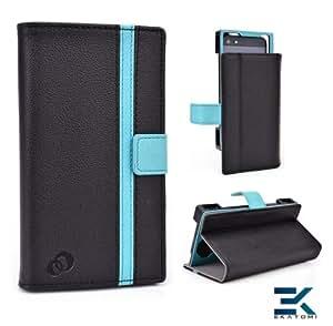 Universal PU Leather Book Folio Phone Case fits Samsung Galaxy Star Pro Cover - BLACK & BABY BLUE. Bonus Ekatomi Screen Cleaner