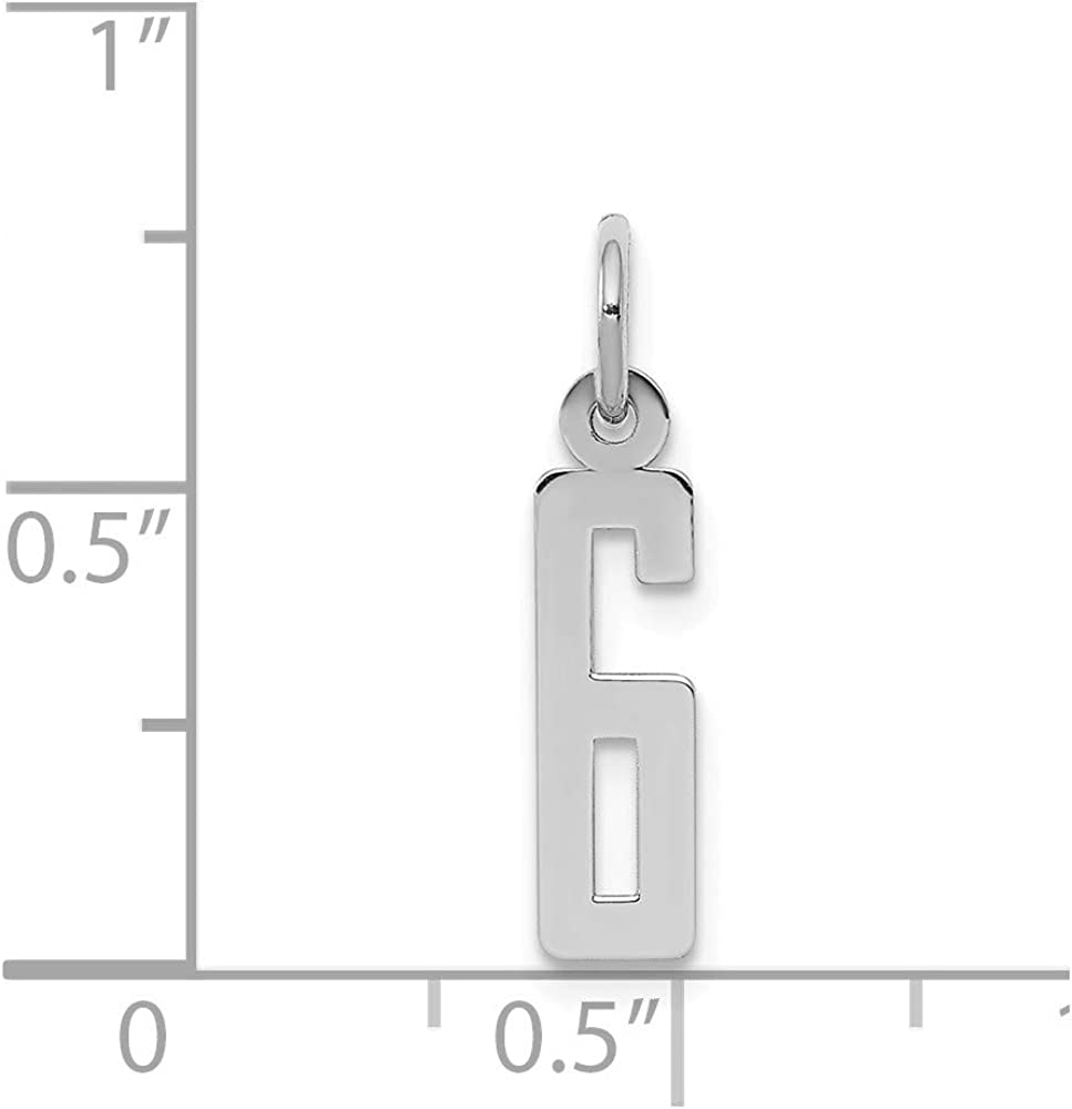 20mm x 4mm Solid 925 Sterling Silver Small Elongated Number 6 Charm Pendant