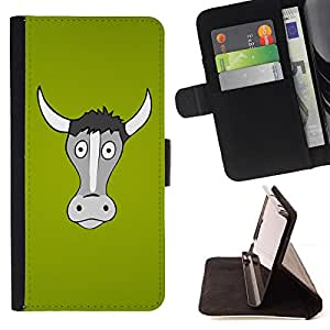 Jordan Colourful Shop - Funny Horned Cow Bull For HTC One M7 - < Leather Case Absorci????n cubierta de la caja de alto impacto > -