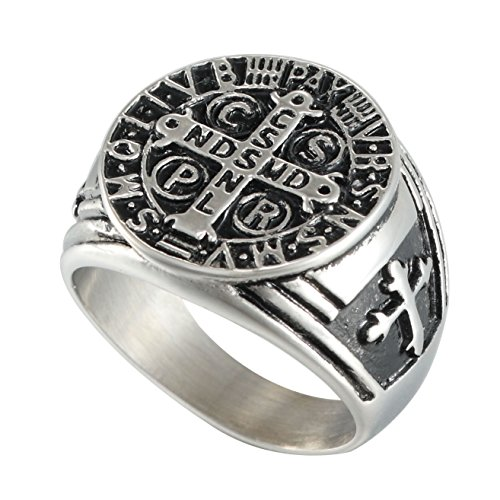 Mens Stainless Steel Catholic St Benedict Exorcism Signet Religious Ring Demon Protection Ghost Hunter Cross Band (10) - Protection Cross