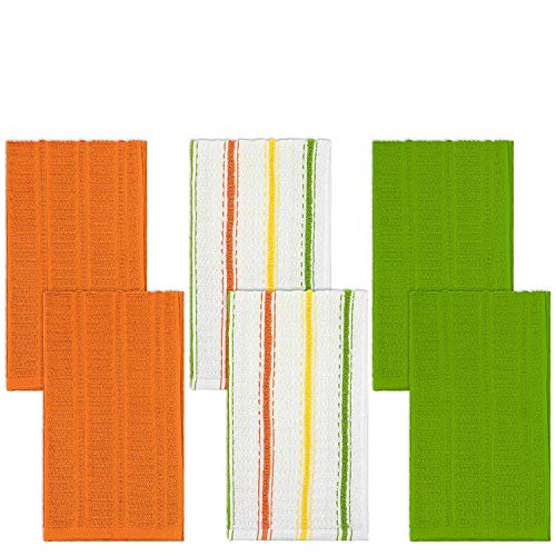 DecorRack Set of 6 Kitchen Dish Towels, 100% Cotton, 16 x 28 inch, Ultra Absorbent and Thick Quality, Hand Towels, Dish Drying Cloth, Machine Washable, Orange, Green, White, Yellow Colors (Set of 6)