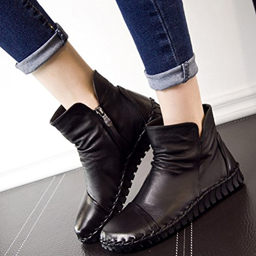 Fleece Retro Women MatchLife Leather Style1 Balck Lace Up Winter Ankle Boots rzr4nxq