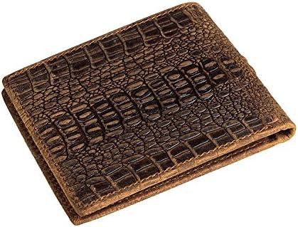 HRS Mens Vintage Italian Leather Alligator Embossed Bifold Wallet