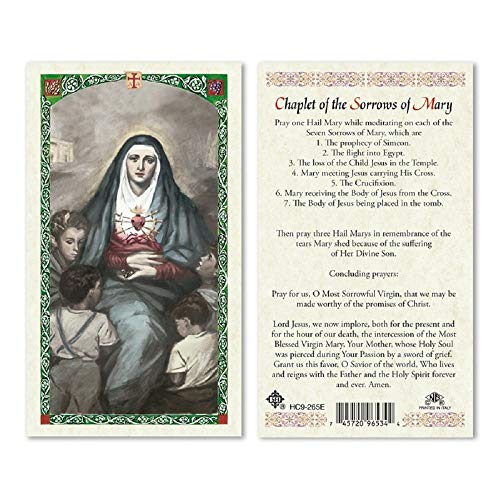 MADONNA - SEVEN SORROWS OF MARY 25/PKG PRAYER CARDS, LAMINATED (Confirmation Prayer Card)