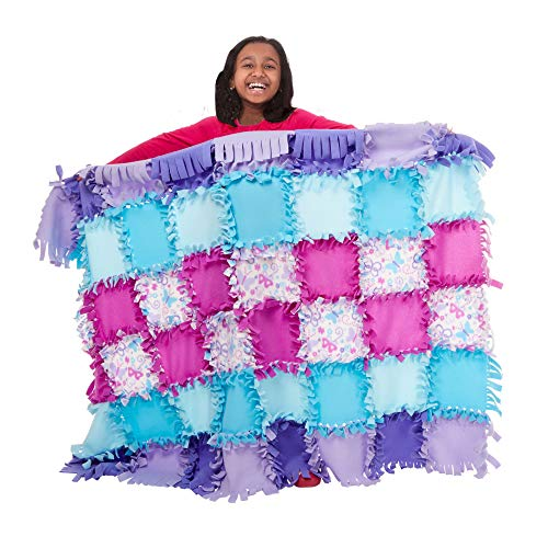 Created by Me! Butterfly Fleece Quilt No-Sew Craft Kit (48 Squares, 4' x 5'), Multicolor ()