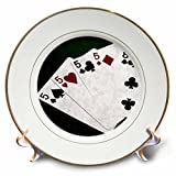 3dRose Alexis Photo-Art - Poker Hands - Poker Hands Four Of A Kind Five Eight - 8 inch Porcelain Plate (cp_270305_1)