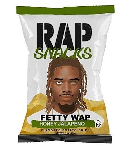 Rap Snacks Fetty Wap Honey Jalapeno Flavored Potato Chips net wt 1oz (28g) (Chocolate Covered Jalapenos)