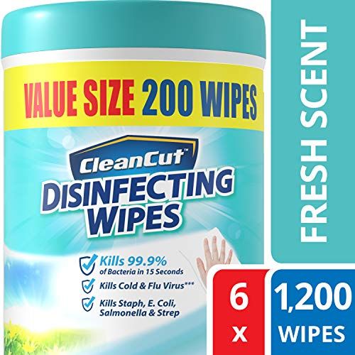 Disinfecting Wipes by Clean Cut, Fresh Scent, Value Size 200 Wet Wipes (Pack of 6, 1200 Total Wipes) Packaging May Vary ()