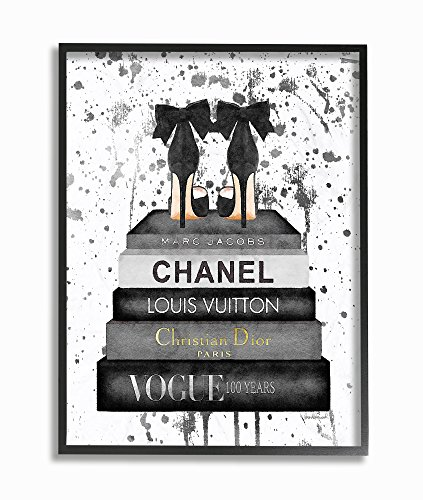 Stupell Industries Glam Fashion Book Stack Grey Bow Pump Heels Ink Framed Giclee Texturized Art, Proudly Made in - Fashion Glam