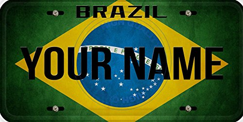 Personalized Custom Name License Brazil Flag Car Vehicle License Plate Auto Tag (Brazil Flag Car)