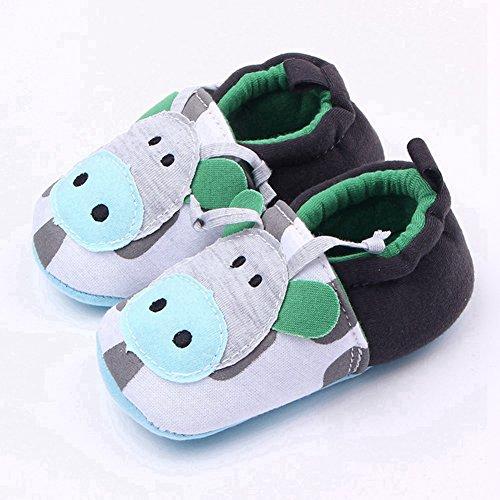 Goldore Baby Calientes muchachas de los muchachos zapatos infantiles del algodón suave Sole Resbalón-en talón elástico primeros caminante Zapatos 0-18M verde de la vaca