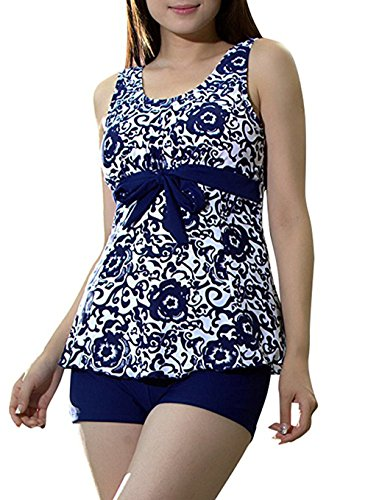 Creabygirls-Womens-Plus-Size-Swimsuit-Retro-Two-Piece-Tankini-Floral-Printed-Swimwear