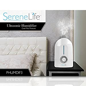 Serene Life Cool Mist Ultrasonic Humidifier | Rotating 360° Degree Mist | LED Display 4L/1.1 Gallon Capacity, Mist Moisture Level Control | Auto Shut-Off for Home, Office, Baby Room, Yoga (PHUMDIF3)