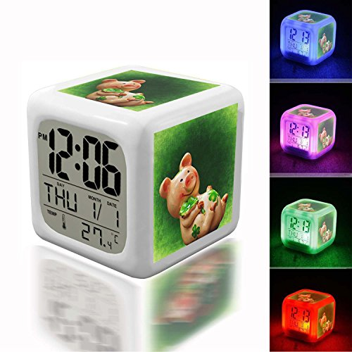 Wake Up Alarm Thermometer Night Glowing Cube 7 Colors Clock LED for Bedroom&Table,School Desk Customize 213. photo Lucky Charm Cute Luck Piglet Sow Lucky Pig