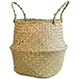 """RISEON Natural Seagrass Belly Basket Panier Storage Plant Pot Collapsible Nursery Laundry Tote Bag with Handles (9"""" (22x20cm))"""