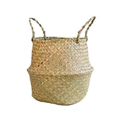 "RISEON Natural Seagrass Belly Basket Panier Storage Plant Pot Collapsible Nursery Laundry Tote Bag with Handles (9"" (22x20cm))"