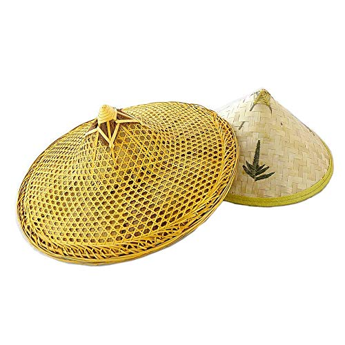 - SUNNYHILL Pack of 2 Chinese Handmade Natural Bamboo Fishing Braid Hats Clear Oil and Green Leaf Hat