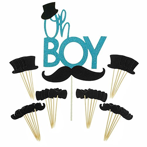 Shxstore Oh Boy Cake Topper Mustache Hat Bowtie Cupcake Picks For Baby Shower Birthday Party Decorations Supplies, 31 Counts]()