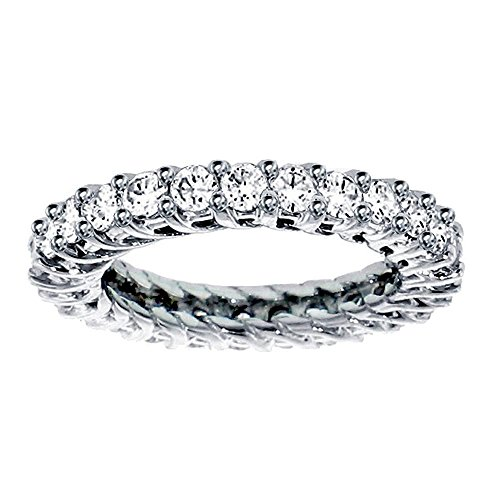 - VIP Jewelry Art 2.25 CT TW Round Diamond Braided Prongs Eternity Wedding Ring in 14k White Gold - Size 12