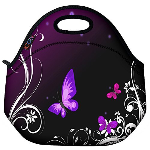 Butterfly Lunch Bag (ICOLOR Purple Butterfly Insulated Neoprene Lunch Bag Tote Handbag lunchbox Food Container Gourmet Tote Cooler warm Pouch For School work Office)