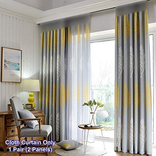 ZZCZZC 1 Set (2 Panels) Living Room Bay Window Curtains Modern Simple Half Shading Cloth Curtain Draperies Ring Top Leaf Printed Window Panels Fresh Gray Window Dressing 52 inch Wide by 63 inch Long from ZZC