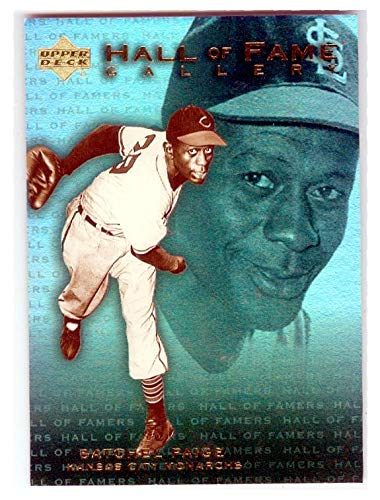 - Satchel Paige baseball trading card (Negro League KC Monarchs Browns Indians) 2001 Upper Deck Hall of Fame Gallery #G13 Refractor