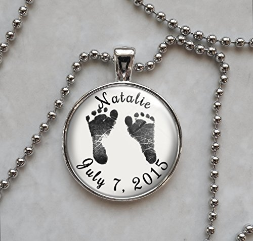 Custom Baby Name and Footprints Feet Pendant Necklace