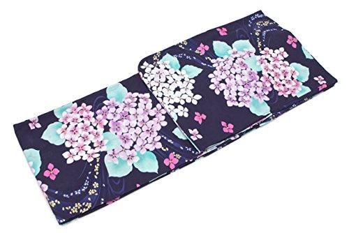 絶滅相談する浸すレディース浴衣 紫紺 ネイビー 紫陽花 アジサイ ラメ 綿