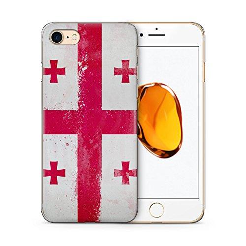 Georgien Grunge Hülle für iPhone 7 SLIM Hardcase Cover Case Schutz Handyhülle Flagge Flag Georgia